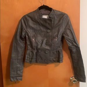 Cropped gray faux leather motorcycle jacket